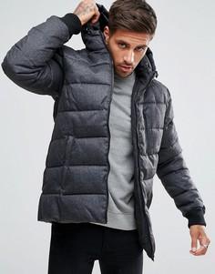 Серое дутое пальто с капюшоном и карманами на молнии River Island - Серый