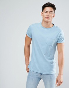 Голубая футболка с карманом River Island - Синий