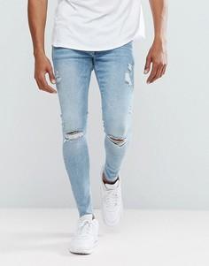 Светлые рваные супероблегающие джинсы с необработанным краем River Island - Синий