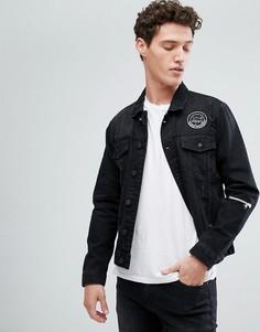 Джинсовая куртка с нашивками Only & Sons - Черный