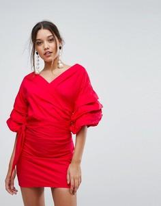 Платье мини с открытыми плечами и сборками на рукавах Lioness - Красный