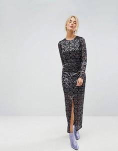 Кружевное платье макси Gestuz - Фиолетовый