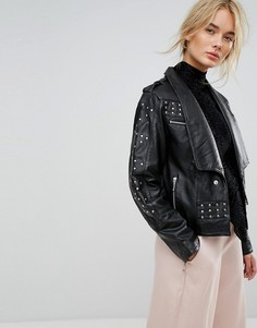 Кожаная куртка с заклепками Gestuz - Черный