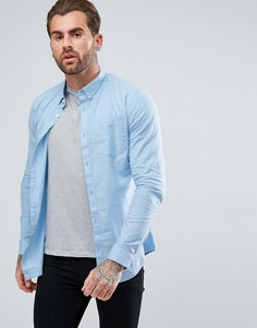 Голубая облегающая оксфордская рубашка River Island - Синий