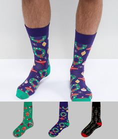 3 пары новогодних носков с принтом New Look - Мульти