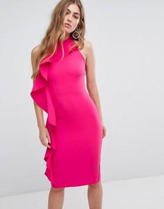 Облегающее платье-халтер с оборкой сбоку River Island - Розовый