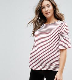 Топ в полоску с оборками на рукавах New Look Maternity - Красный