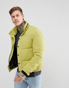 Зеленая укороченная дутая куртка со скрытым капюшоном New Look - Зеленый