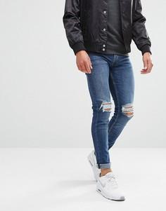 Синие выбеленные джинсы скинни с рваными коленями New Look - Синий