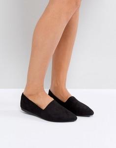 Туфли на плоской подошве с острым носом New Look - Черный