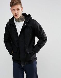 Черная куртка с капюшоном на подкладке из искусственного меха River Island - Черный