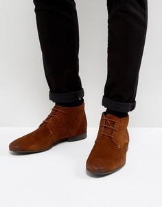 Замшевые коричневые ботинки чукка River Island - Рыжий