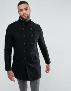 Шерстяной двубортный черный пиджак River Island - Черный