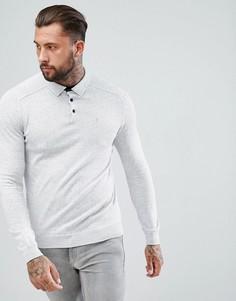 Серая меланжевая футболка-поло River Island - Серый