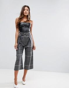 Клетчатые брюки с присборенным поясом River Island - Мульти