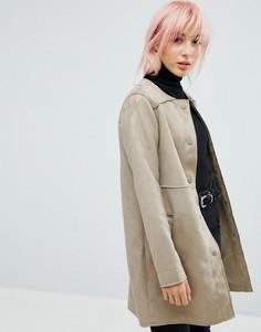 Куртка из искусственной замши без воротника New Look - Светло-серый