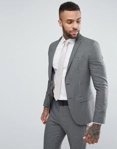 Серый приталенный пиджак в клетку River Island - Серый