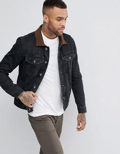 Черная выбеленная джинсовая куртка с замшевым воротником River Island - Черный