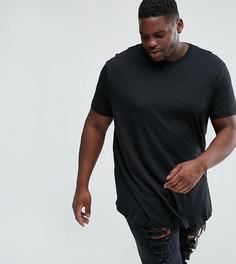 Черная футболка с закругленным краем River Island PLUS - Черный