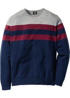 Пуловер Regular Fit (серый меланж/красная ягода в полоску) Bonprix