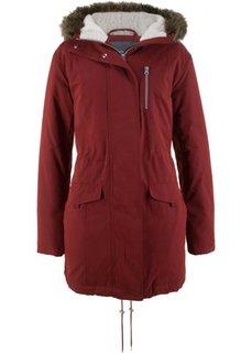 Куртка-парка с капюшоном с опушкой из искусственного меха (темно-красный) Bonprix