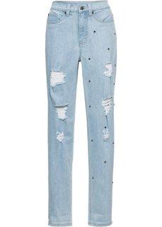 Джинсы в ретро-стиле с заклепками и потертостями (голубой) Bonprix