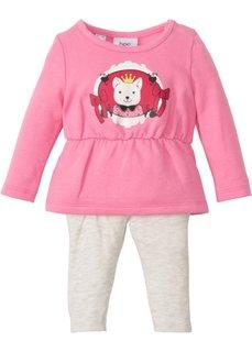 Для малышей: трикотажное платье + легинсы из биохлопка (2 изд.) (ярко-розовый/натуральный меланж) Bonprix