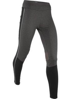 Длинные спортивные термобрюки со светоотражающими деталями (шиферно-серый) Bonprix