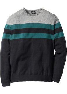 Пуловер Regular Fit (серый меланж/сине-зеленый в полоску) Bonprix