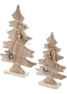 Декоративная деревянная елка (2 шт.) (натуральный) Bonprix