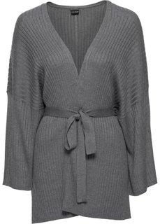 Вязаный кардиган-кимоно (серый меланж) Bonprix