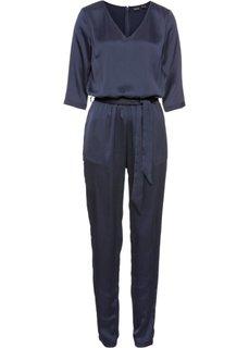 Комбинезон с текстильным поясом (темно-синий) Bonprix