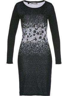 Вязаное платье с жаккардовым переплетением (антрацитовый меланж/серебристый) Bonprix