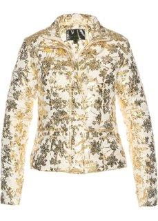 Стеганая куртка с блестящим принтом (бежевый/золотистый с рисунком) Bonprix