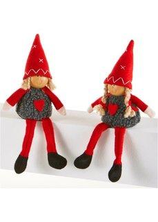 Новогодние фигурки гномиков Лена и Лиза (2 шт.) (красный/серый) Bonprix