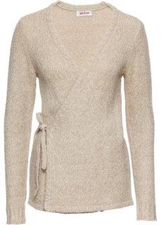 Вязаный кардиган с текстильным поясом (бежевый меланж) Bonprix