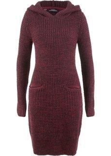 Вязаное платье с капюшоном (бордовый/черный меланж) Bonprix