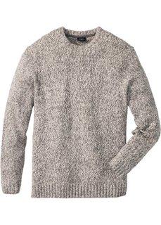 Пуловер с круглым вырезом Regular Fit (серый меланж) Bonprix