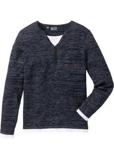 Пуловер Slim Fit (синий меланж) Bonprix