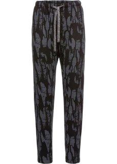 Трикотажные брюки с принтом (темно-серый) Bonprix
