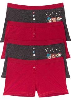 Женские трусики-боксеры (4 шт.) (темно-красный/антрацитовый меланж с принтом) Bonprix