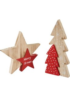 Деревянные фигурки Звезда и елочка (натуральный/красный) Bonprix
