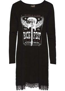 Трикотажное платье с кружевом на подоле (черный с рисунком) Bonprix