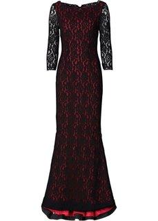 Кружевное макси-платье (черный/маджента) Bonprix