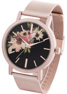 Часы с цветочным узором на циферблате (розово-золотистый) Bonprix