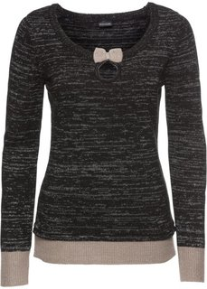 Пуловер (черный/серо-коричневый/серебристый) Bonprix
