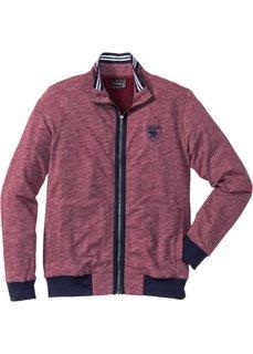 Трикотажная куртка Regular Fit с воротником-стойкой (бордовый меланж) Bonprix