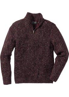 Меланжевый пуловер Regular Fit с воротником на молнии (бордовый меланж) Bonprix