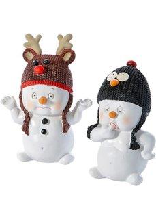 Декоративные фигурки снеговиков Шутники (2 изд.) (белый/серый/светло-коричневый/красный) Bonprix