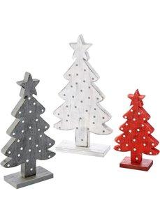 Деревянные фигурки Елочки (3 шт.) (белый/серый/красный) Bonprix